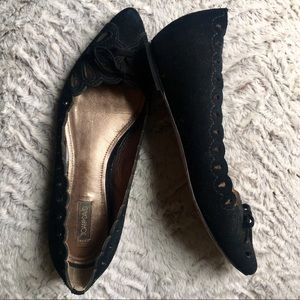 Suede Cutout Pointy Toe Flats